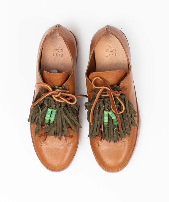 Leather Shoe Kilty Beaded Olive RTH