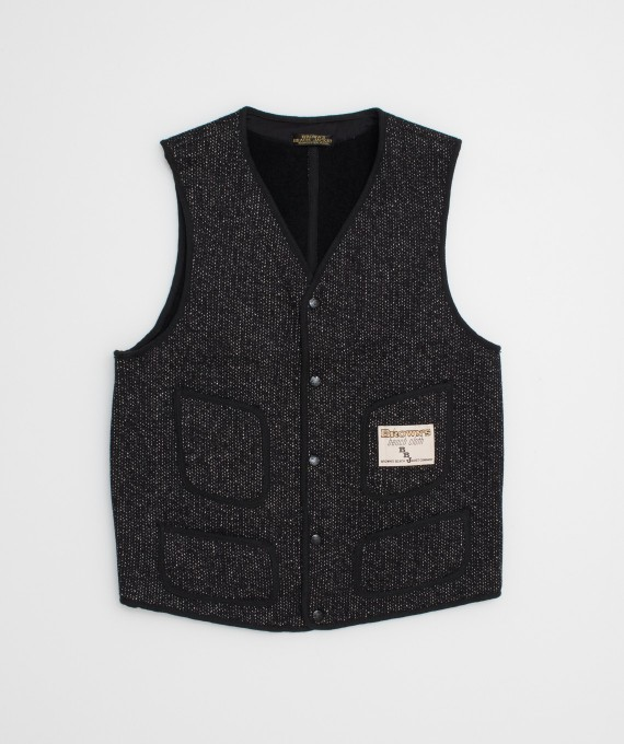 Gilet Brown's Beach V neck Black