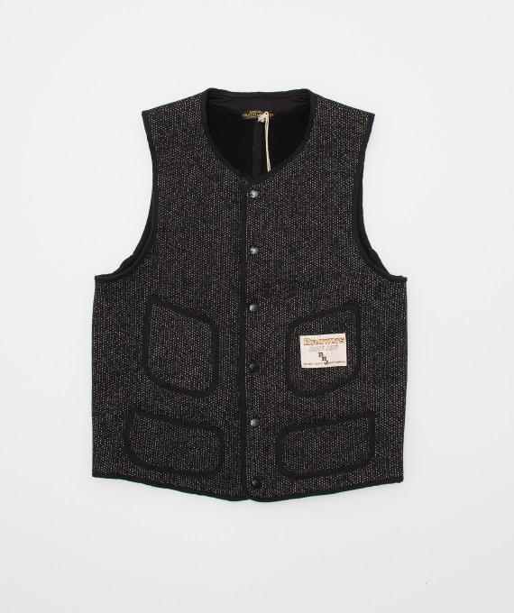 Gilet Brown's Beach Low neck Black
